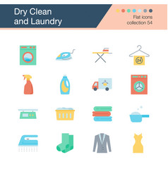 dry clean and laundry icons flat design vector image
