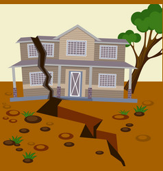 Earthquake damaged house and ground splitted in vector