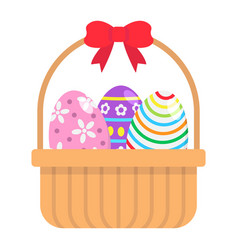 easter eggs in basket flat icon easter vector image