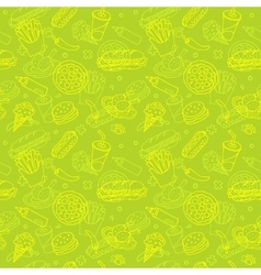 Fast Food Doodle Seamless Pattern vector image