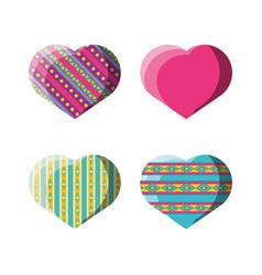 Flat decoration heart with ornamental symbols vector