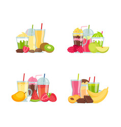 flat smoothie elements piles set isolated vector image