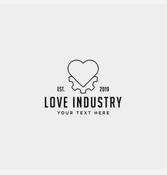 gear heart logo line health industry icon design vector image