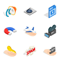 General internet icons set isometric style vector