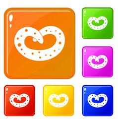 German pretzel icons set color vector