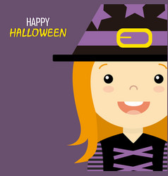 Girl disguised as a witch vector
