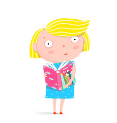 Girl reading a book vector
