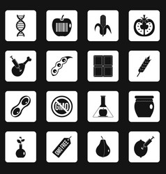 Gmo icons set squares vector