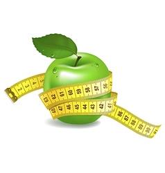 Green apple with measuring tape vector