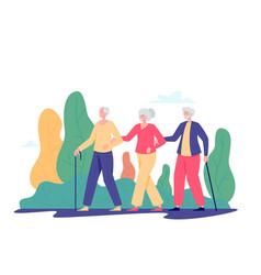 Group old people walking outdoor vector