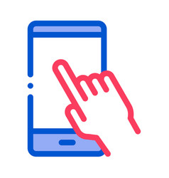 hand push phone icon outline vector image