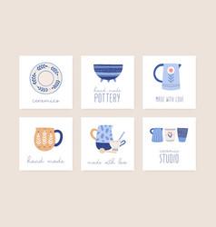 Handmade ceramics flat set vector