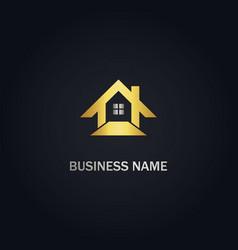 Home real estate design gold logo vector