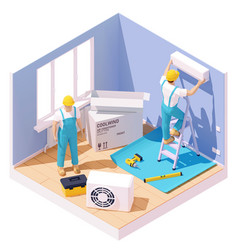 isometric air conditioner installation vector image