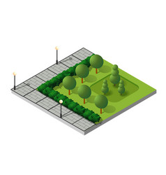 isometric buildings city park vector image