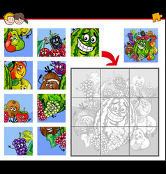 Jigsaw puzzles with fruits characters vector