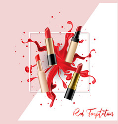 lipstick collection set with color splash vector image