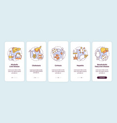 Liver disease types onboarding mobile app page vector