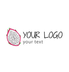 Logo with dragon fruit simple sign vector