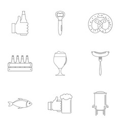 Lunchtime icons set outline style vector
