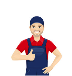 Man in overalls showing thumb up vector