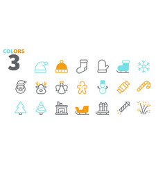 merry christmas pixel perfect icons well-crafted vector image