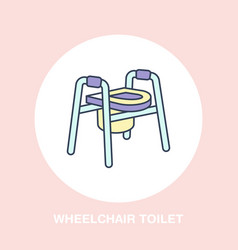 modern line icon of wheelchair toilet vector image