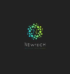 New tech logo green dots with letter n vector