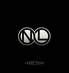 Nl initial letter linked circle capital monogram vector