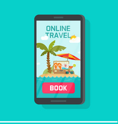Online travel booking via mobile phone vector