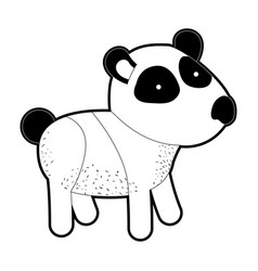 panda cartoon in black silhouette with thick vector image