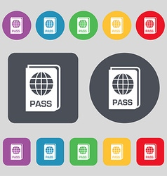 Passport icon sign A set of 12 colored buttons vector