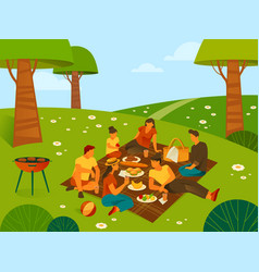 picnic or recreation in forest or parkland vector image