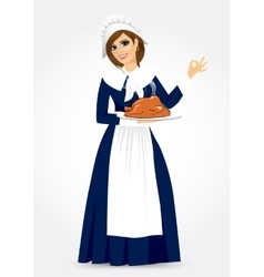 Pilgrim woman vector