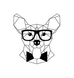 polygonal corgi dog in fashion glasses and bow vector image