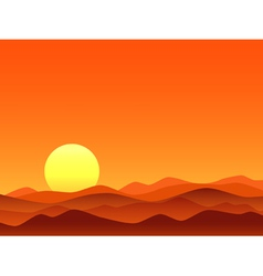 Red desert bright sunrise vector