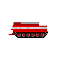 Red fire caterpillar vehicle emergency vehicle vector