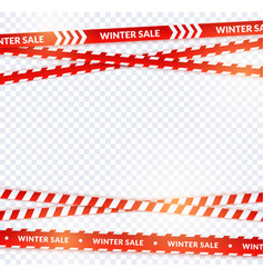 red sale ribbon winter tapes in festive holiday vector image