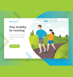 running landing page vector image