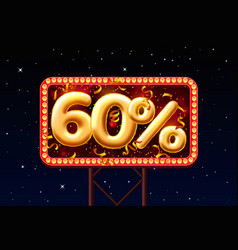 sale 60 off ballon number on night sky vector image