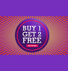 Sale banner buy one get two free offer vector