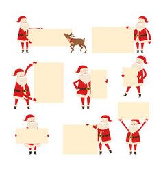 santa with empty banner isolated on white vector image