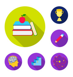School and education flat icons in set collection vector