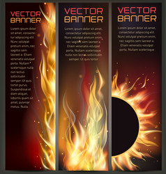 set of fire flame banner vector image