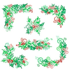 Set of holly berries design elements vector
