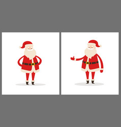 set of santa clauses in different pose icon vector image