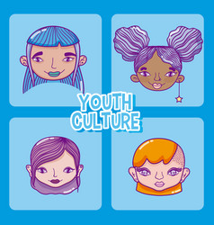 Set of youth culture cartoons vector
