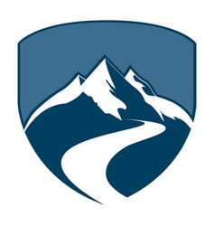 shield mountain badge concept design symbol vector image