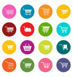 shopping cart icons many colors set vector image