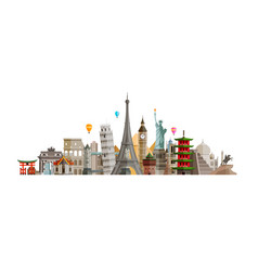 Sights countries world journey travel concept vector